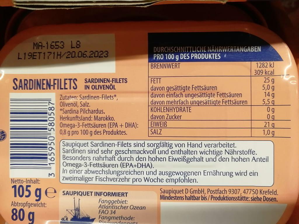 Keto-Snacks Kaufland Sardinen-Filets