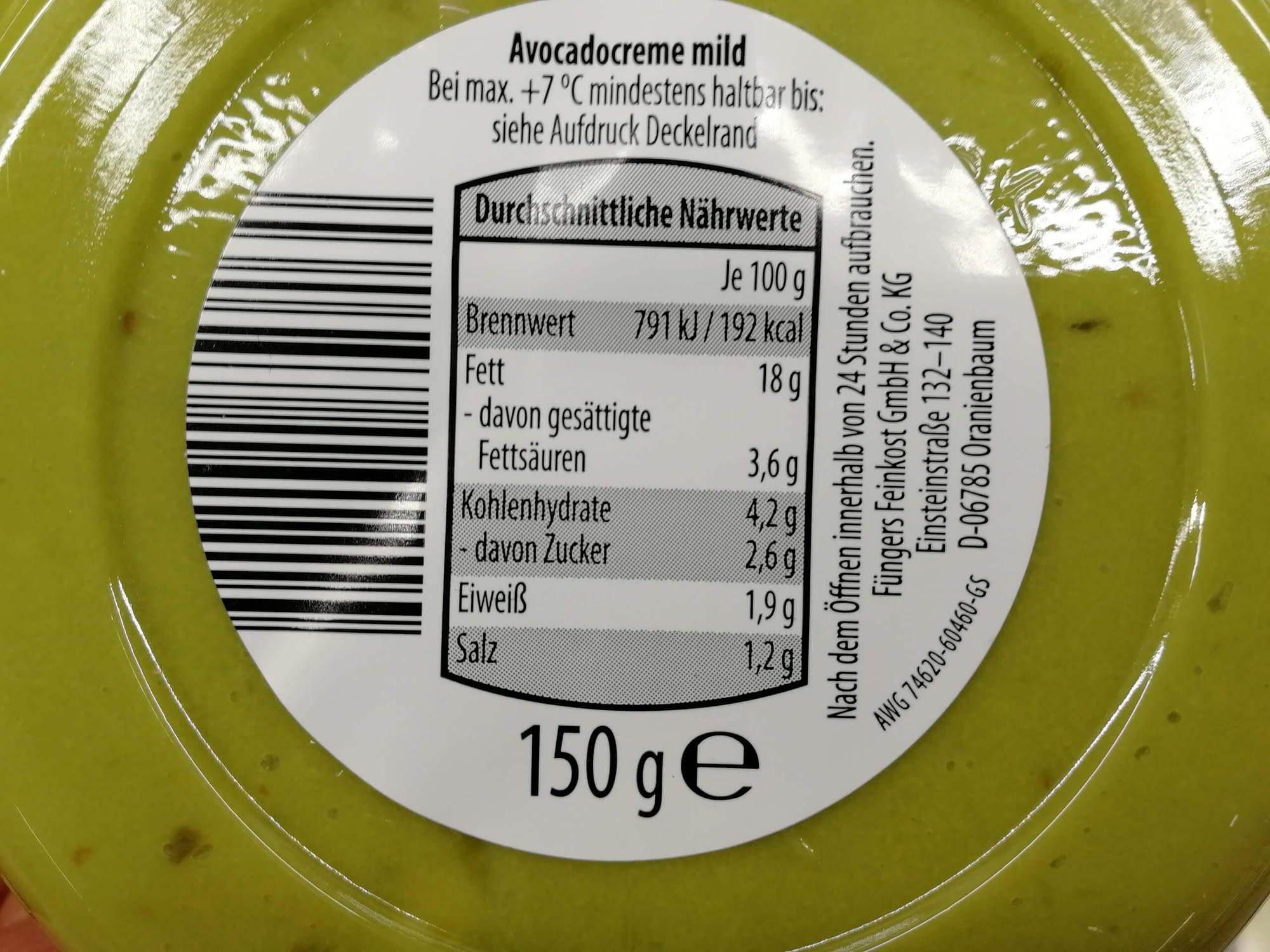 Keto-Snack-Aldi-Guacamole-Nährwerte