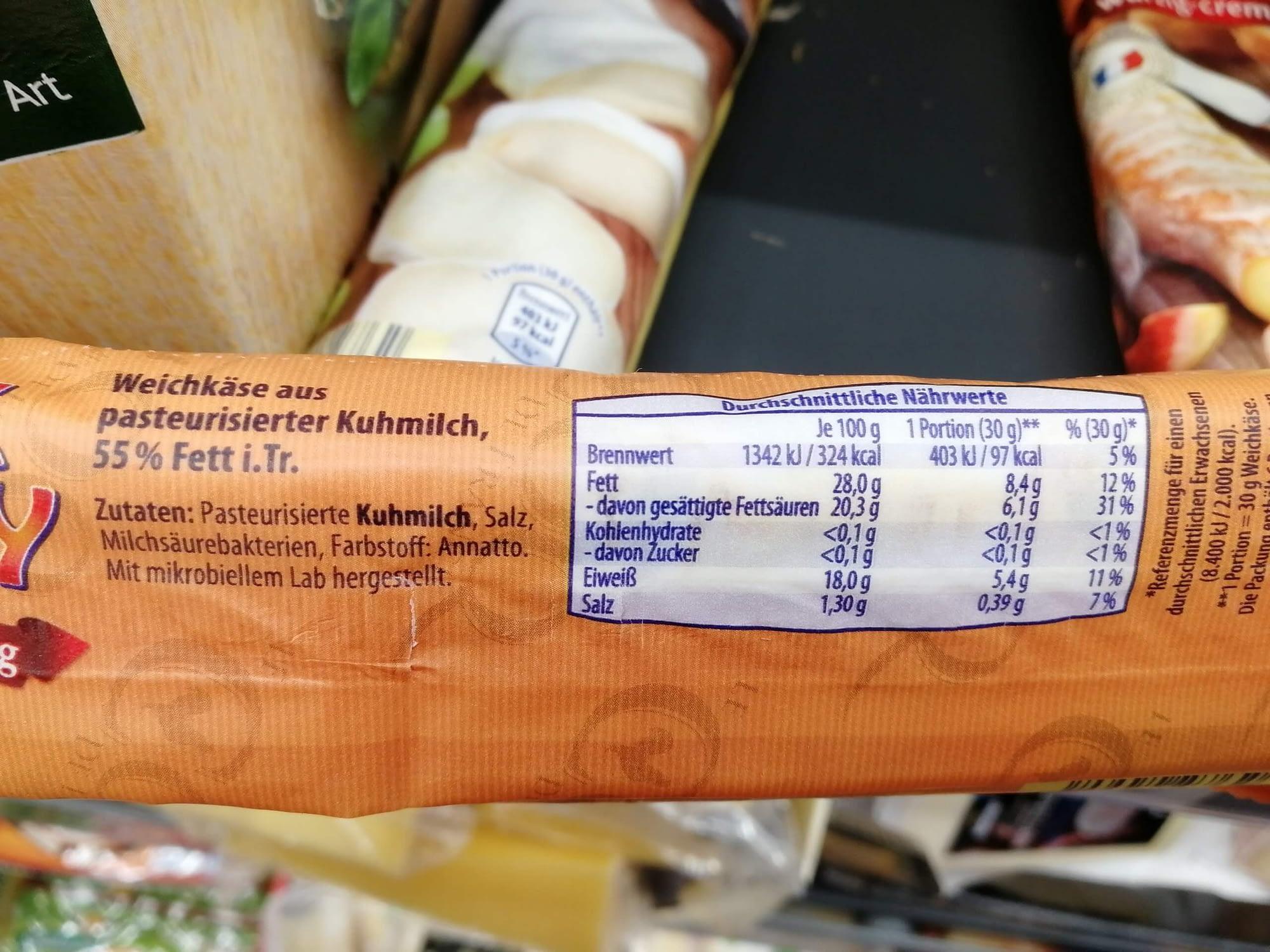 Keto-Snack-Aldi-Weichkäse-Nährwerte